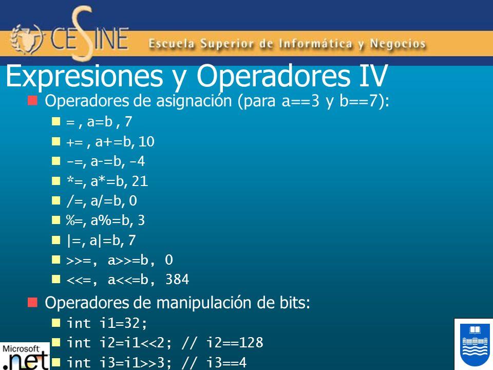 Expresiones y Operadores IV