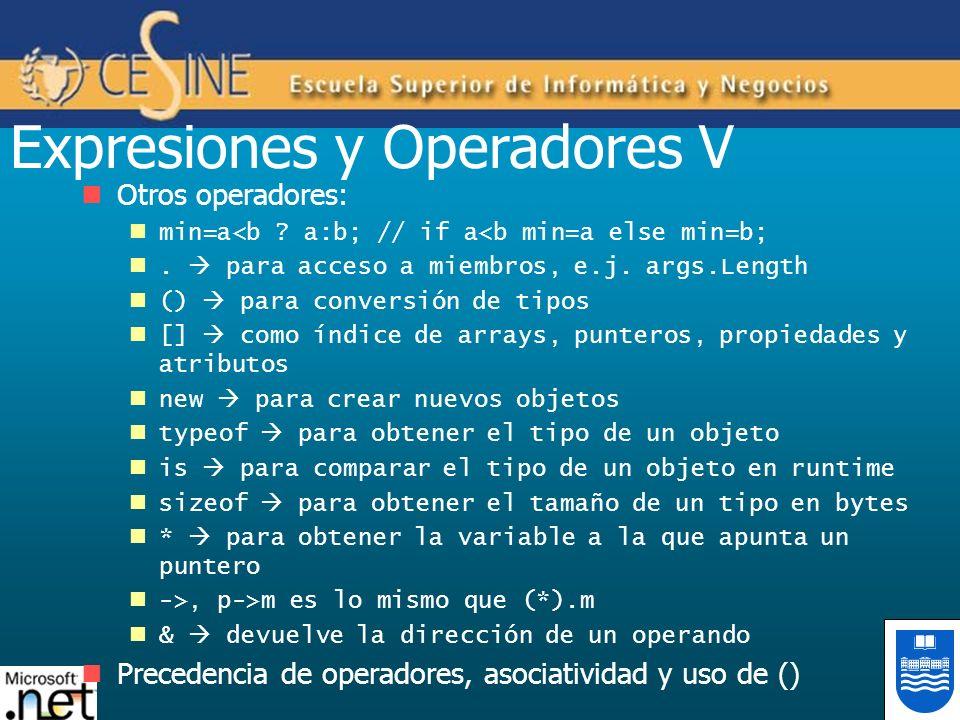 Expresiones y Operadores V