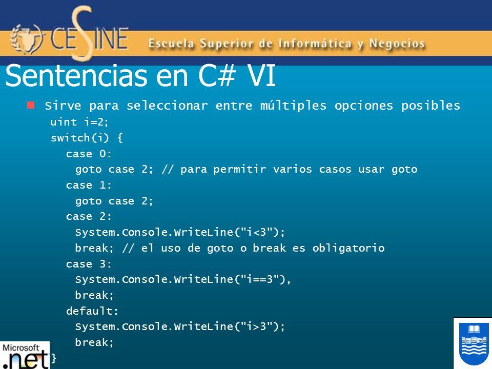 Sentencias en C# VI Sirve para seleccionar entre múltiples opciones posibles. uint i=2; switch(i) {