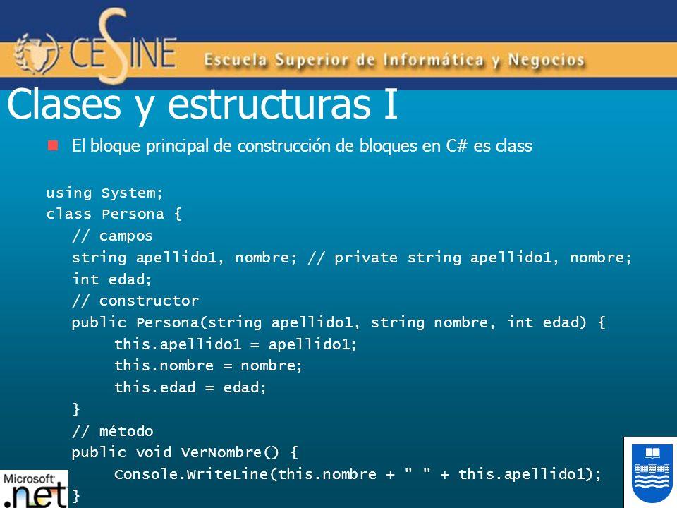 Clases y estructuras I El bloque principal de construcción de bloques en C# es class. using System;