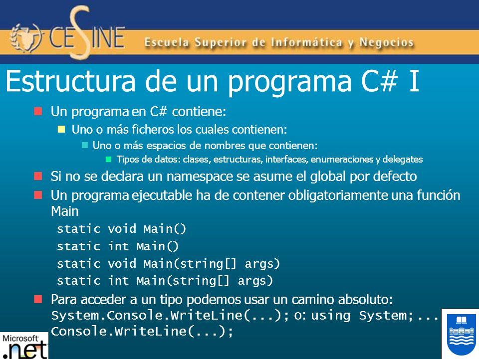 Estructura de un programa C# I