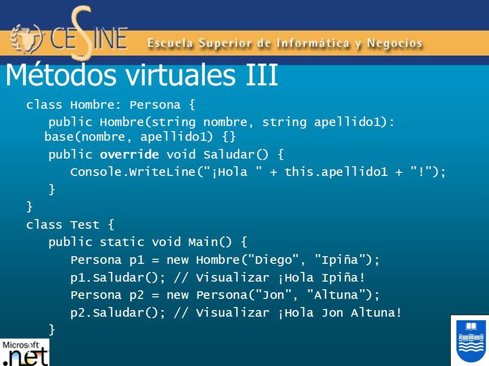 Métodos virtuales III class Hombre: Persona {