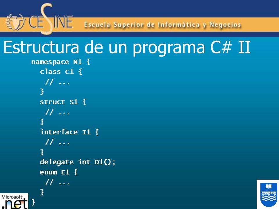 Estructura de un programa C# II