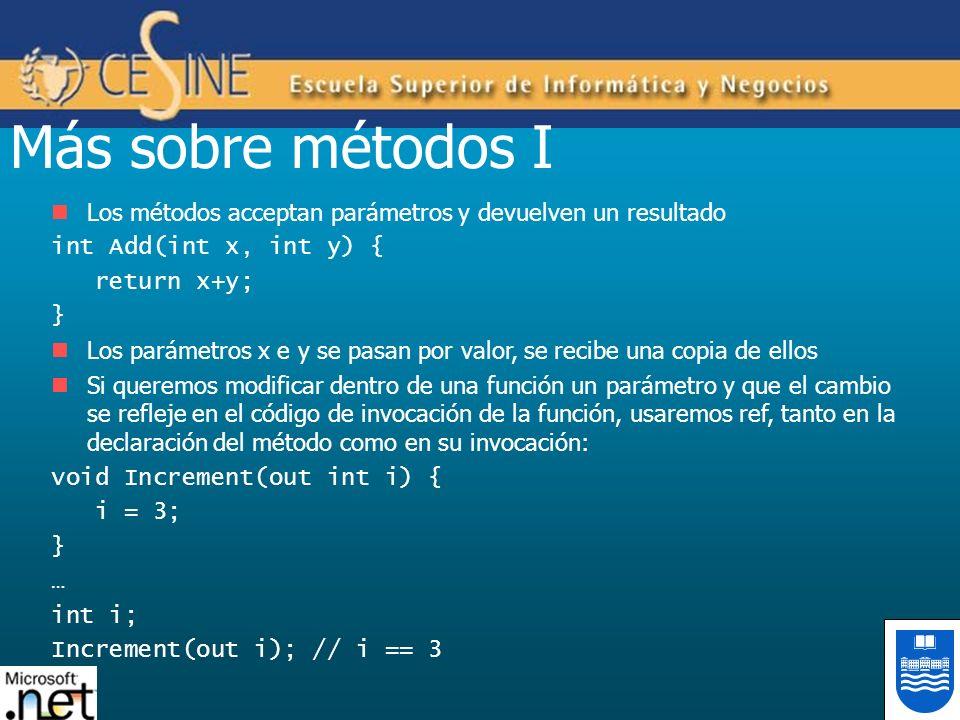 Más sobre métodos I Los métodos acceptan parámetros y devuelven un resultado. int Add(int x, int y) {