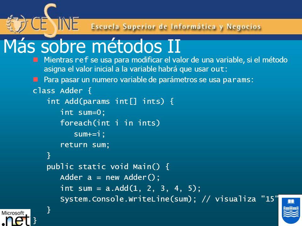 Más sobre métodos II