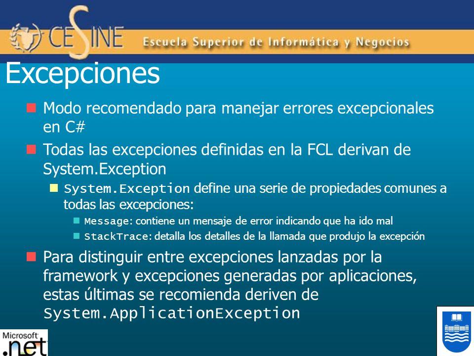 Excepciones Modo recomendado para manejar errores excepcionales en C#