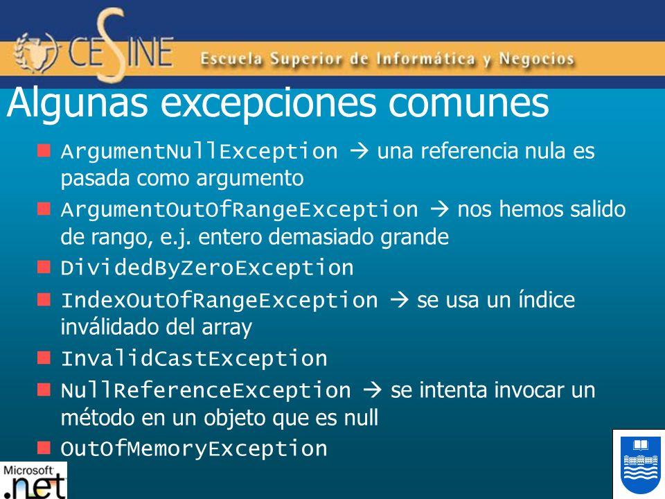 Algunas excepciones comunes