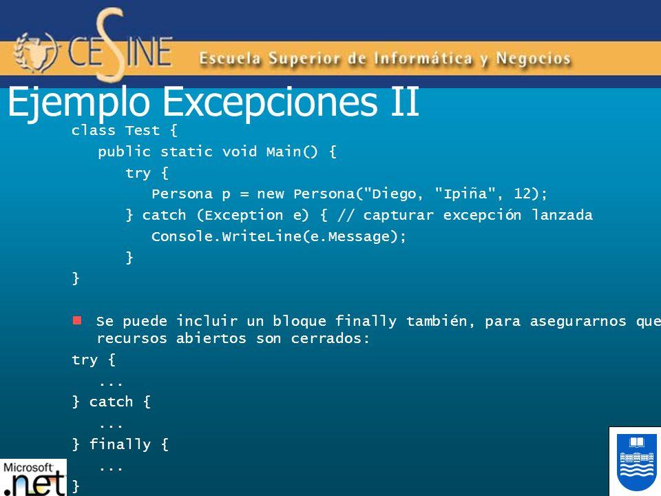 Ejemplo Excepciones II