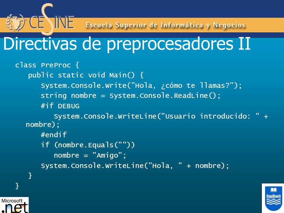 Directivas de preprocesadores II