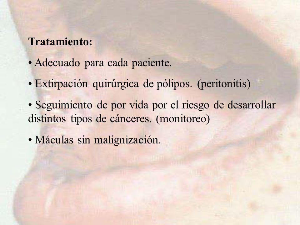Tratamiento: Adecuado para cada paciente. Extirpación quirúrgica de pólipos. (peritonitis)