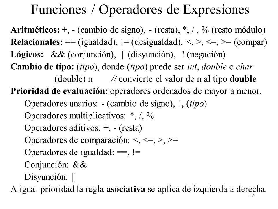 Funciones / Operadores de Expresiones