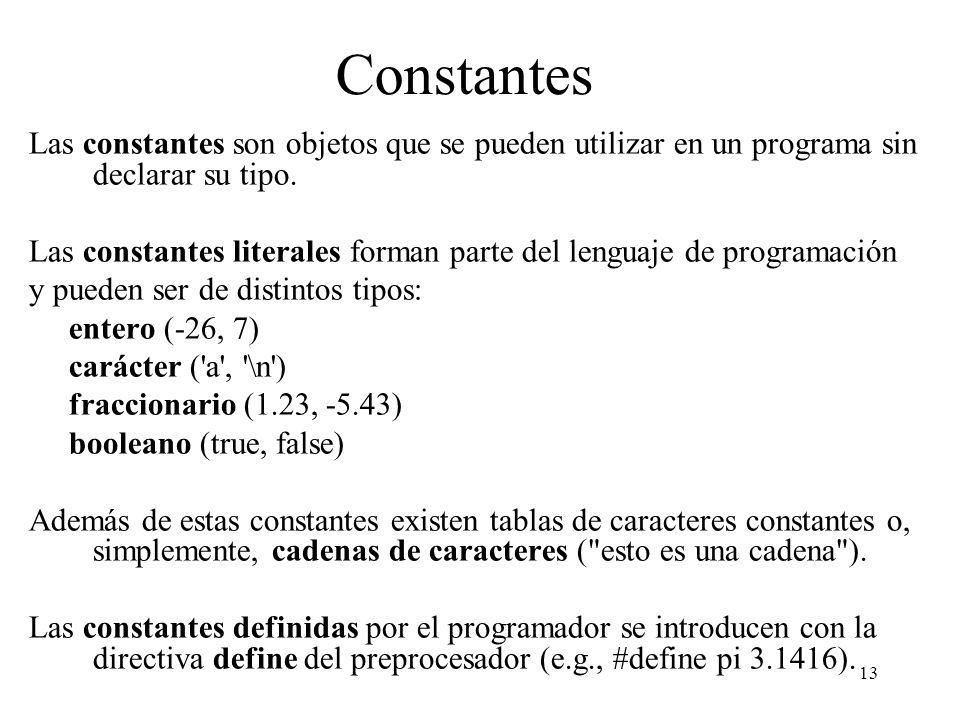 Constantes Las constantes son objetos que se pueden utilizar en un programa sin declarar su tipo.