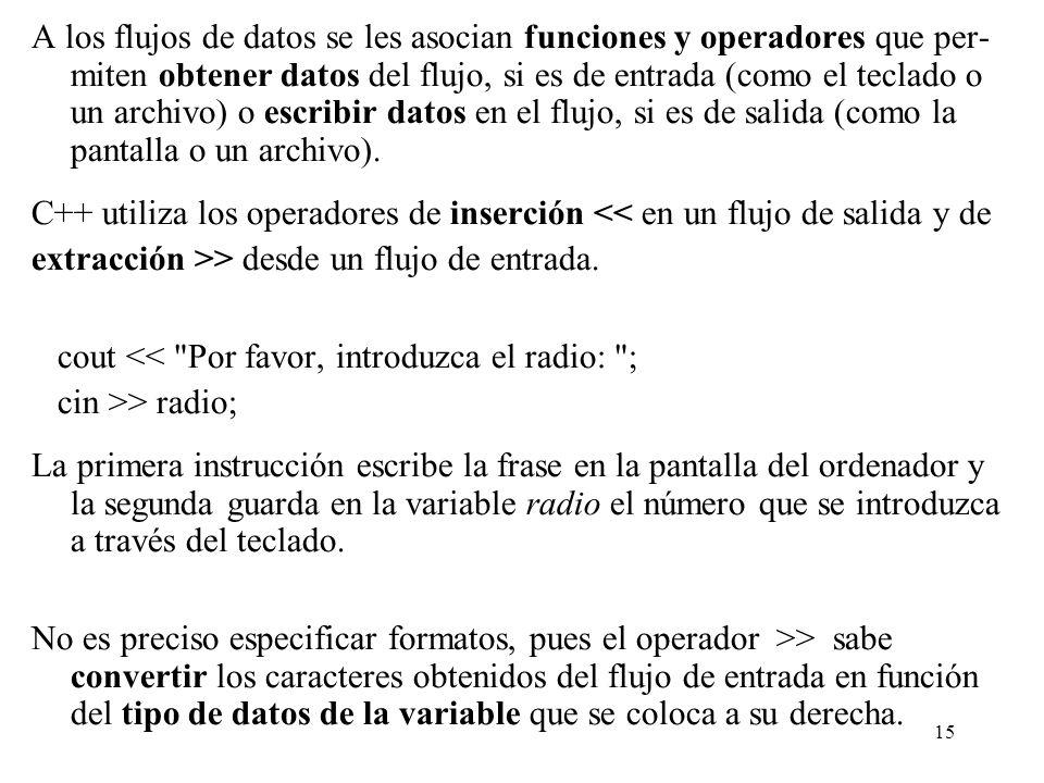 A los flujos de datos se les asocian funciones y operadores que per-miten obtener datos del flujo, si es de entrada (como el teclado o un archivo) o escribir datos en el flujo, si es de salida (como la pantalla o un archivo).
