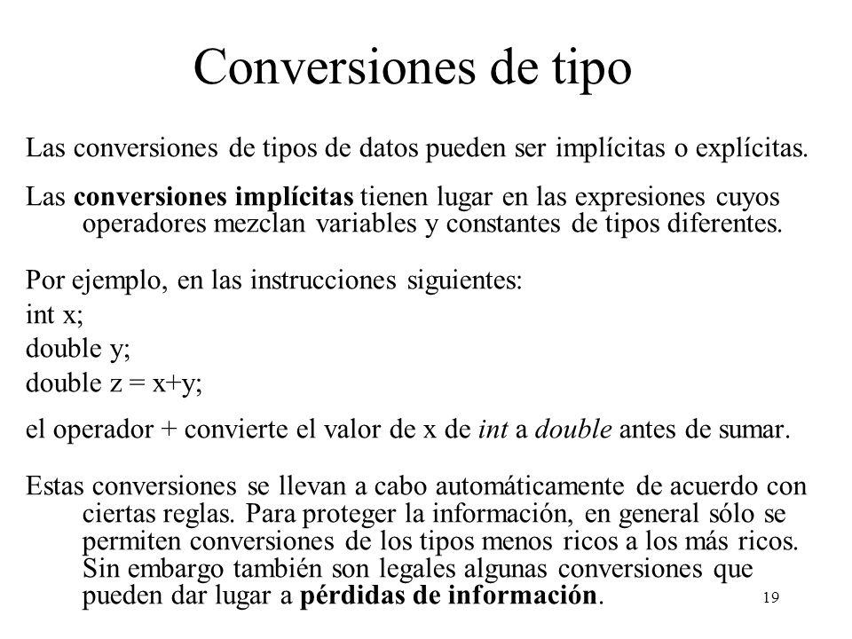 Conversiones de tipo Las conversiones de tipos de datos pueden ser implícitas o explícitas.