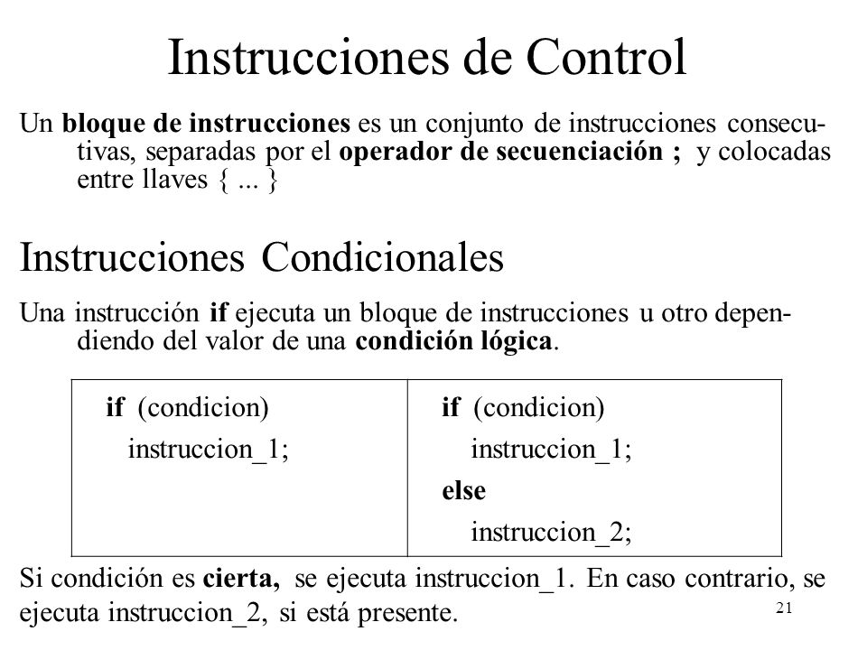 Instrucciones de Control