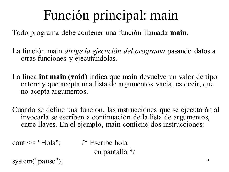 Función principal: main