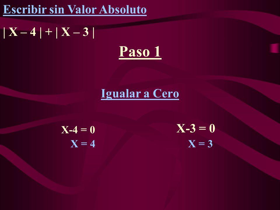 Paso 1 Escribir sin Valor Absoluto | X – 4 | + | X – 3 |