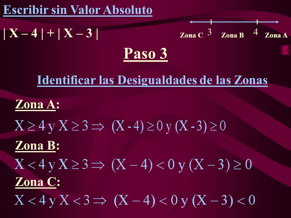 Paso 3 Escribir sin Valor Absoluto | X – 4 | + | X – 3 |