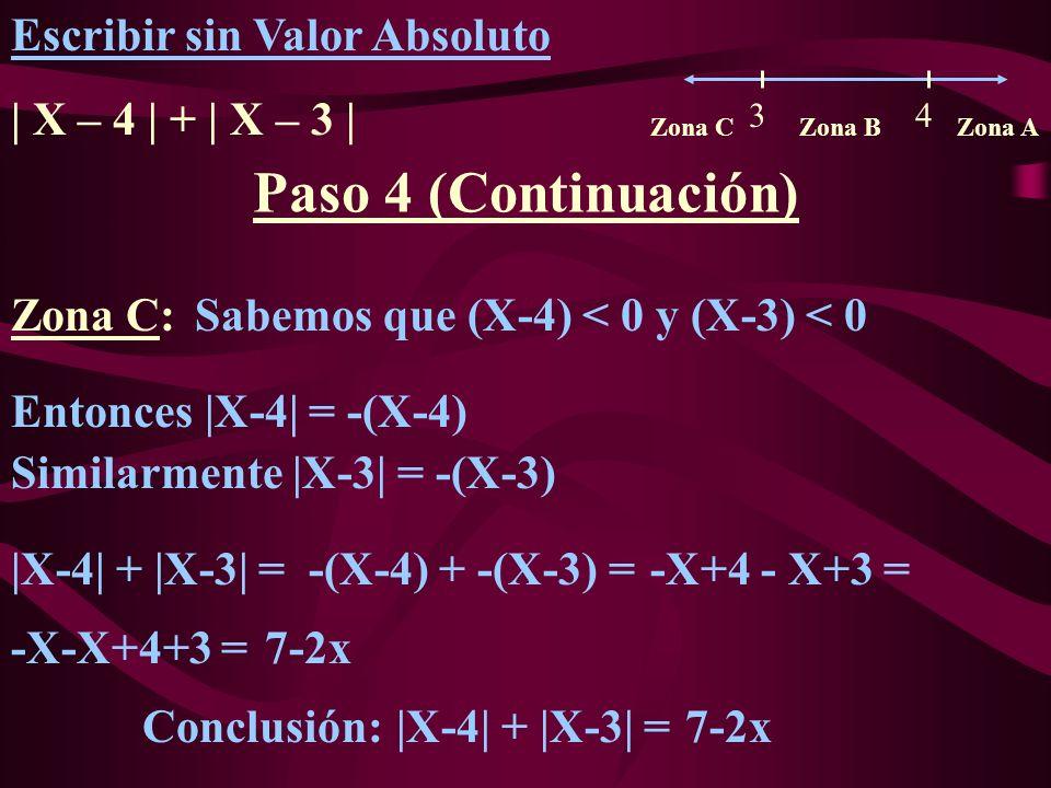Paso 4 (Continuación) Escribir sin Valor Absoluto