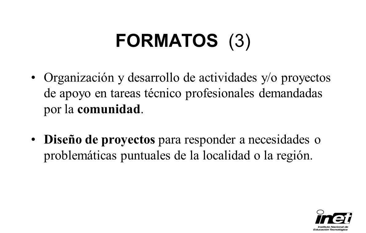 FORMATOS (3) Organización y desarrollo de actividades y/o proyectos de apoyo en tareas técnico profesionales demandadas por la comunidad.