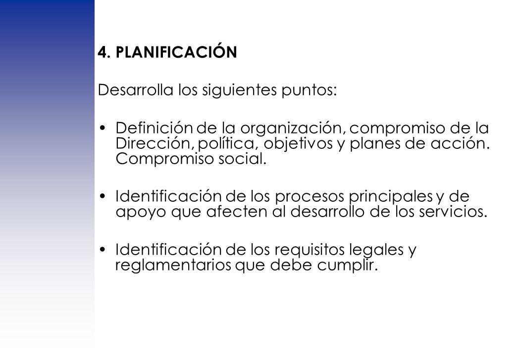 4. PLANIFICACIÓN Desarrolla los siguientes puntos: