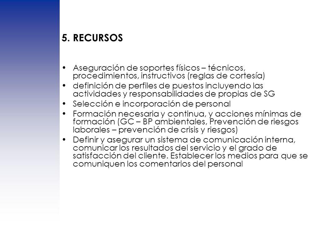 5. RECURSOS Aseguración de soportes físicos – técnicos, procedimientos, instructivos (reglas de cortesía)