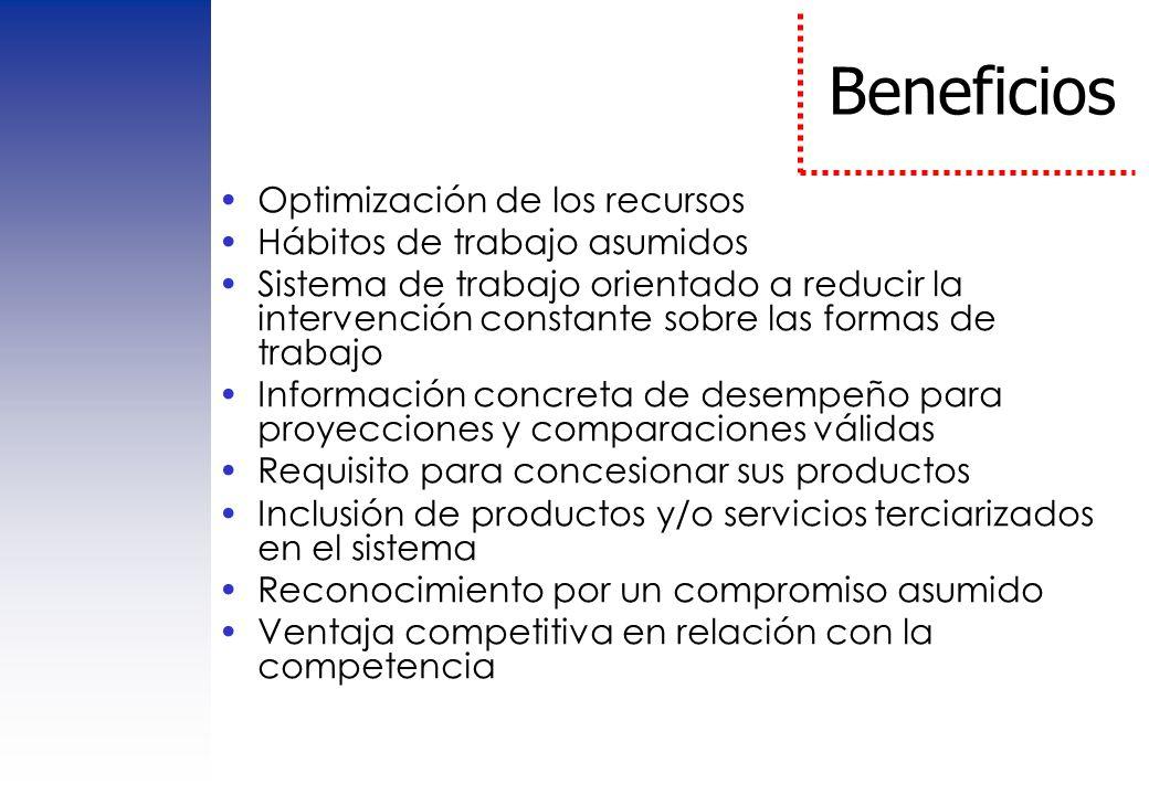 Beneficios Optimización de los recursos Hábitos de trabajo asumidos