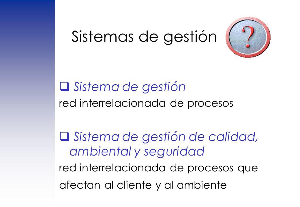 Sistemas de gestión Sistema de gestión