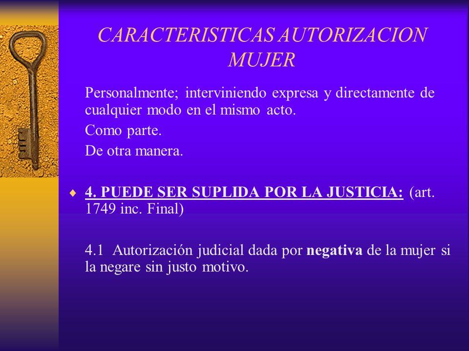 CARACTERISTICAS AUTORIZACION MUJER
