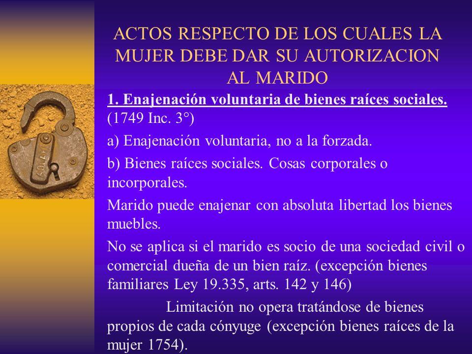 ACTOS RESPECTO DE LOS CUALES LA MUJER DEBE DAR SU AUTORIZACION AL MARIDO