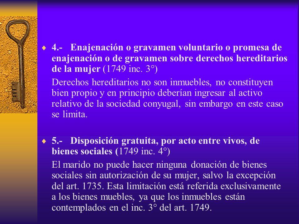 4.- Enajenación o gravamen voluntario o promesa de enajenación o de gravamen sobre derechos hereditarios de la mujer (1749 inc. 3°)