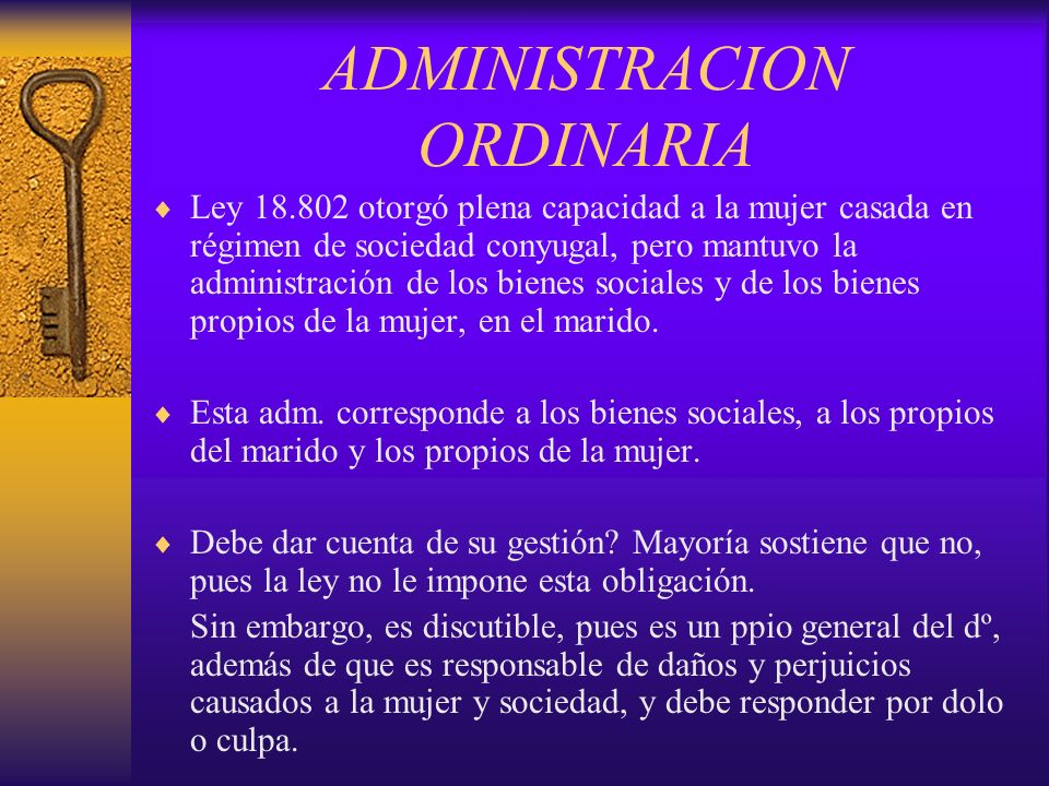 ADMINISTRACION ORDINARIA