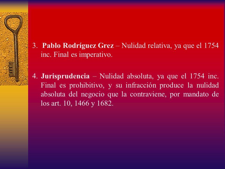3. Pablo Rodríguez Grez – Nulidad relativa, ya que el 1754 inc