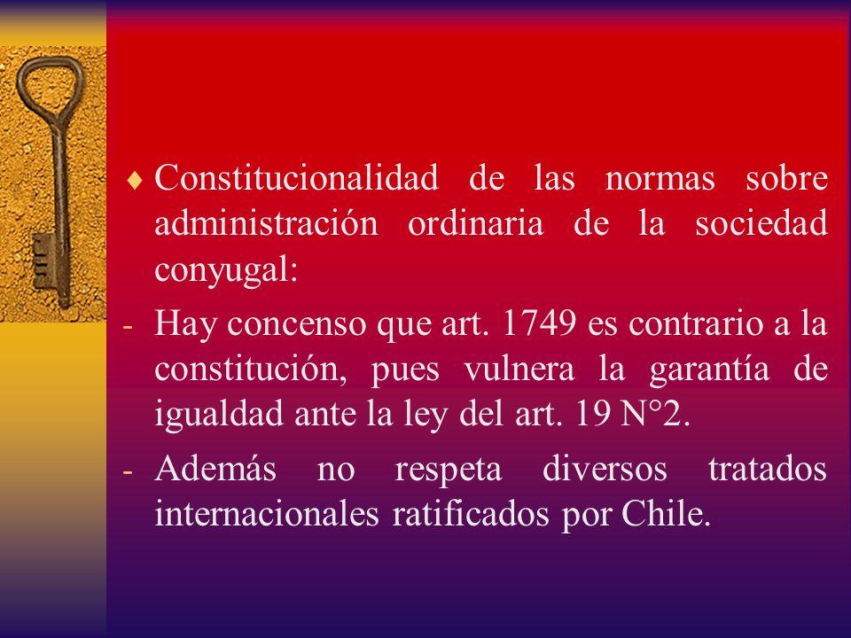 Constitucionalidad de las normas sobre administración ordinaria de la sociedad conyugal: