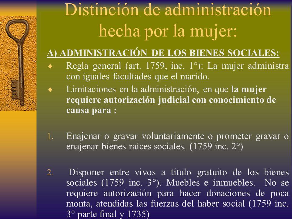 Distinción de administración hecha por la mujer: