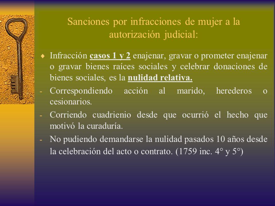 Sanciones por infracciones de mujer a la autorización judicial: