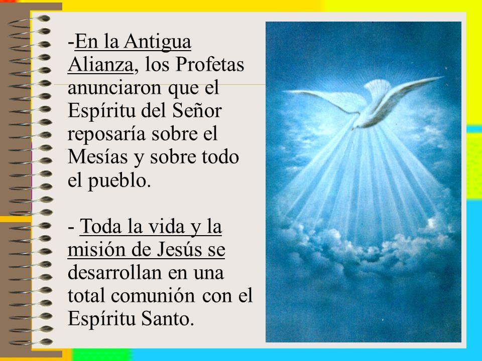 En la Antigua Alianza, los Profetas anunciaron que el Espíritu del Señor reposaría sobre el Mesías y sobre todo el pueblo.