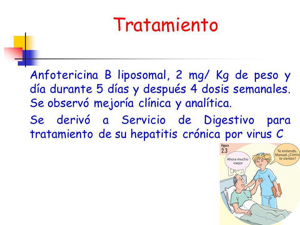 Tratamiento Anfotericina B liposomal, 2 mg/ Kg de peso y día durante 5 días y después 4 dosis semanales. Se observó mejoría clínica y analítica.