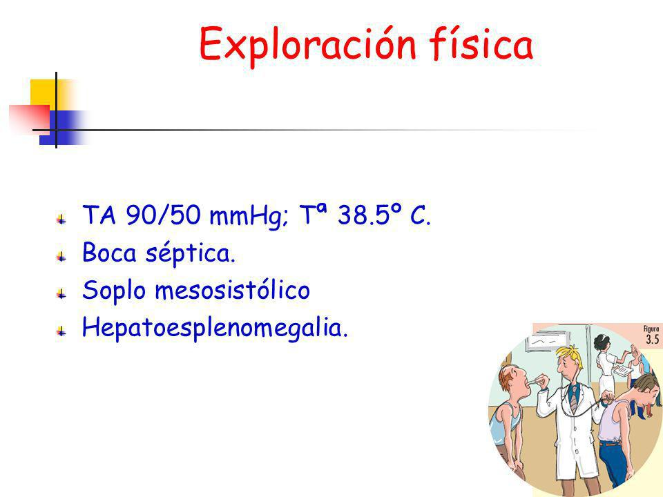 Exploración física TA 90/50 mmHg; Tª 38.5º C. Boca séptica.