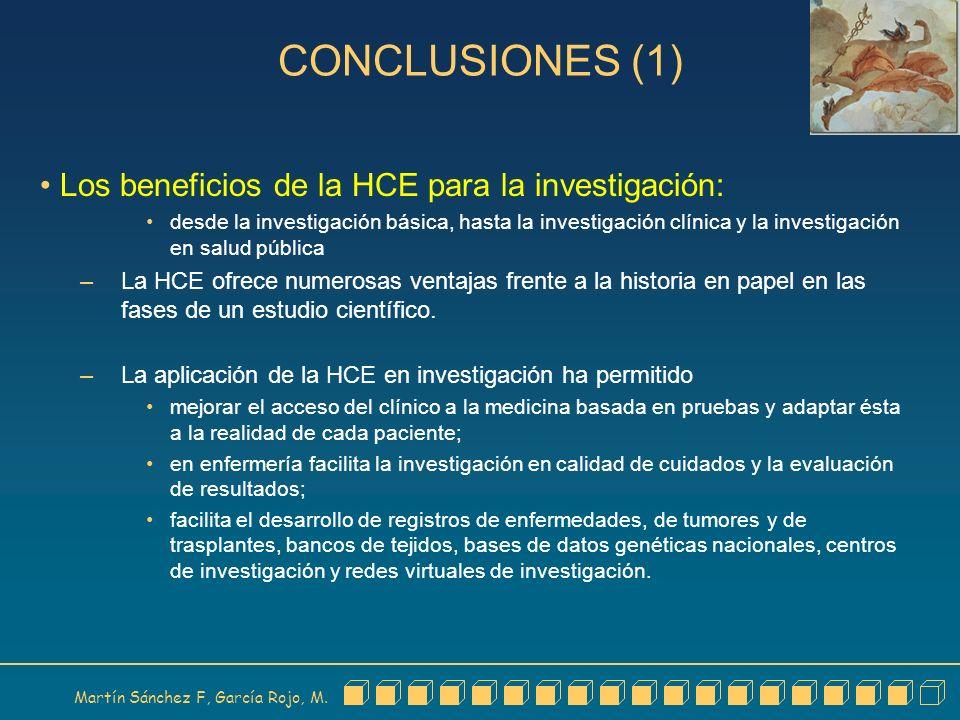 CONCLUSIONES (1) Los beneficios de la HCE para la investigación: