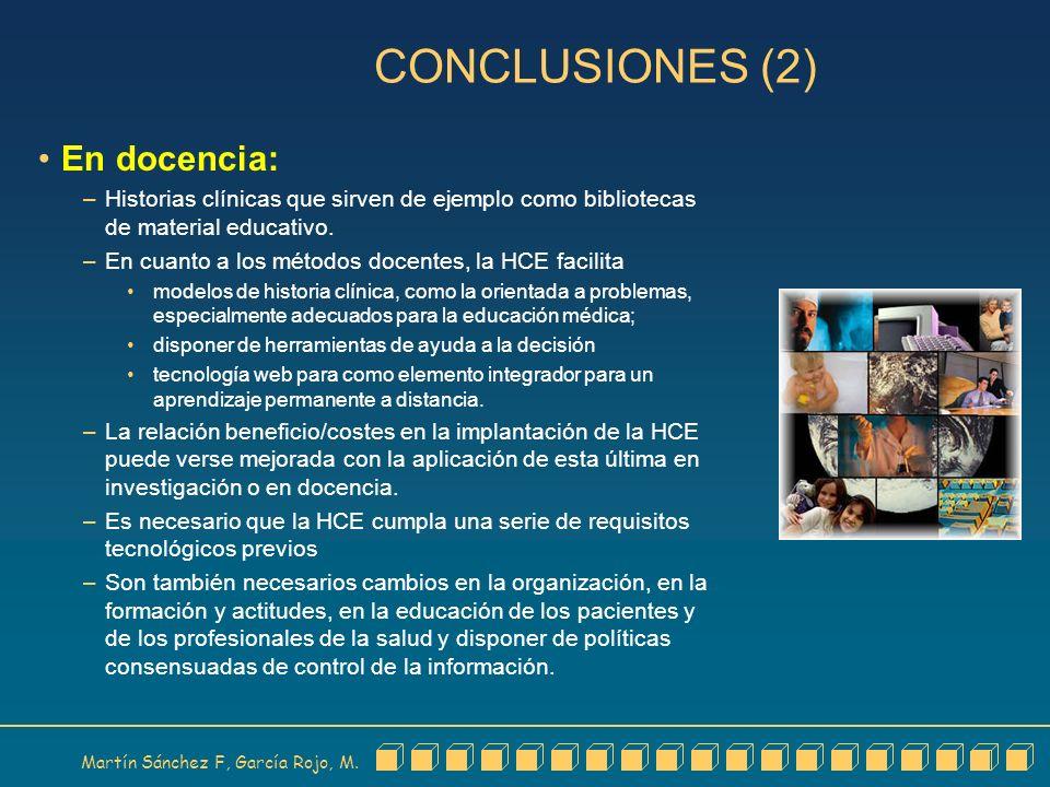 CONCLUSIONES (2) En docencia: