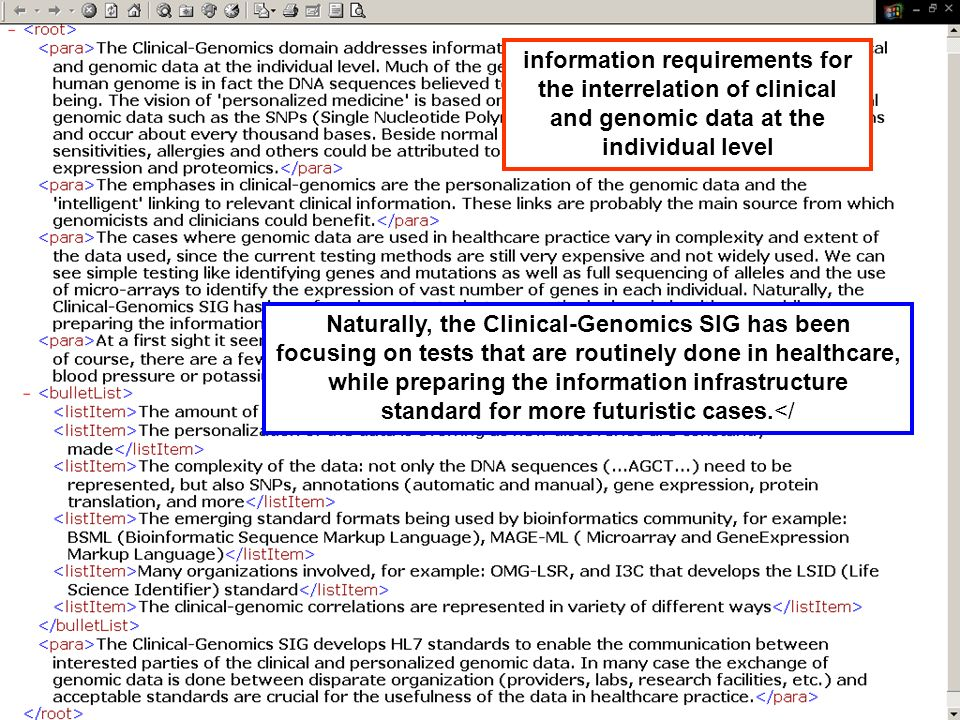 information requirements for the interrelation of clinical and genomic data at the individual level