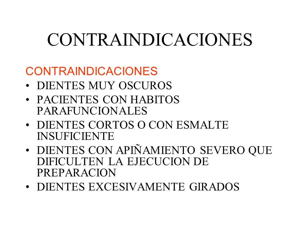 CONTRAINDICACIONES CONTRAINDICACIONES DIENTES MUY OSCUROS