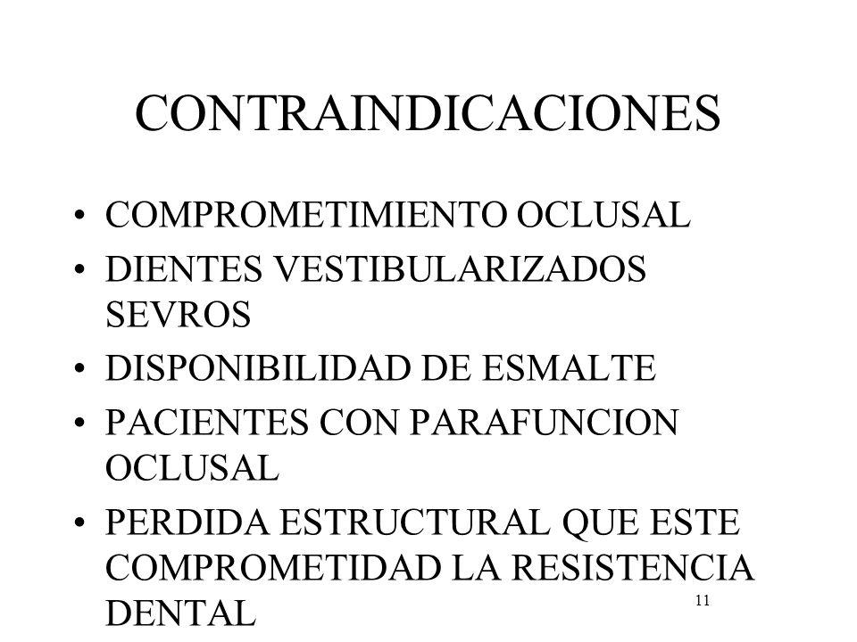 CONTRAINDICACIONES COMPROMETIMIENTO OCLUSAL