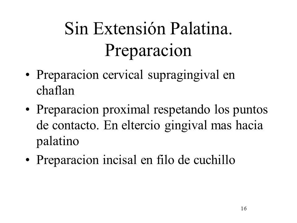 Sin Extensión Palatina. Preparacion