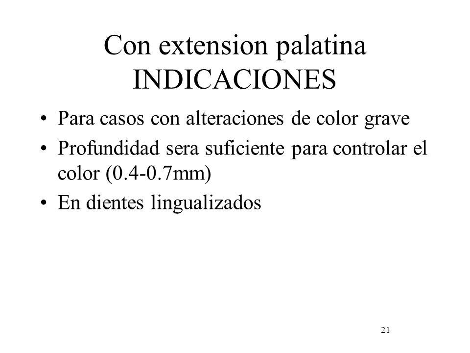 Con extension palatina INDICACIONES