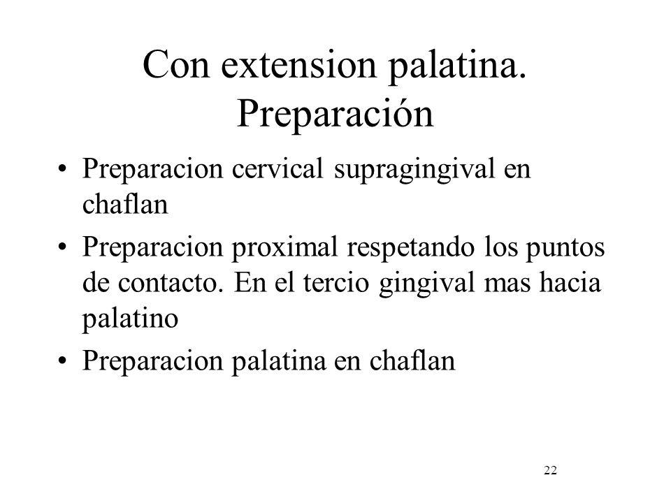 Con extension palatina. Preparación