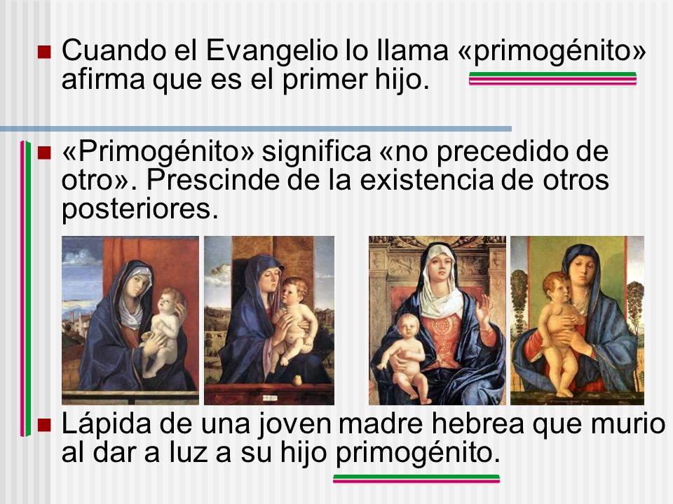 Cuando el Evangelio lo llama «primogénito» afirma que es el primer hijo.