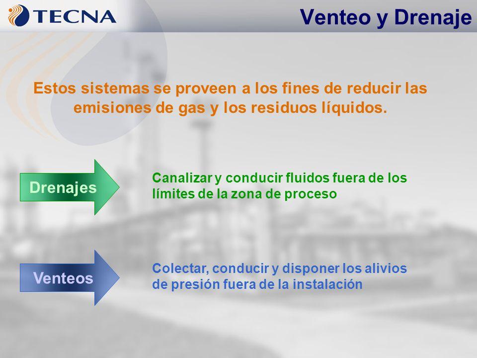 Venteo y Drenaje Estos sistemas se proveen a los fines de reducir las emisiones de gas y los residuos líquidos.