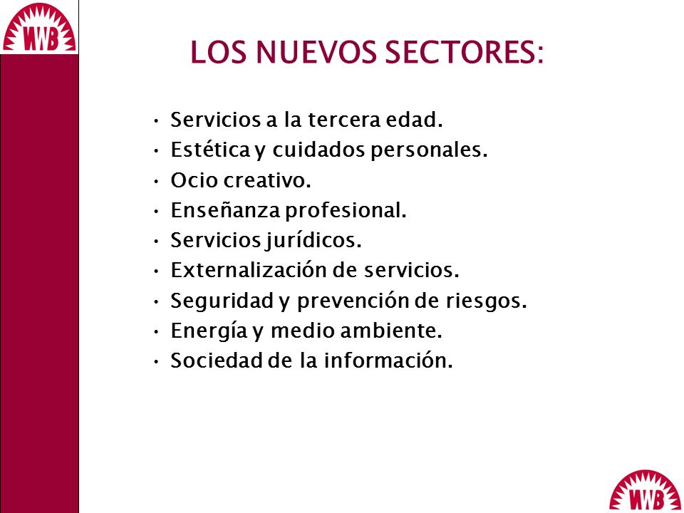 LOS NUEVOS SECTORES: WWB Servicios a la tercera edad.